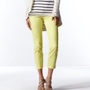 CAbi Ankle Jeans, bright yellow. Size 0